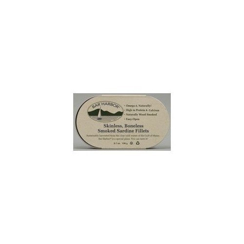 Bar Harbor Skinless Boneless Smoked Sardine Fillets, 6.7-Ounce (Pack of 6)