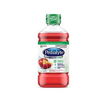 Pedialyte AdvancedCare Electrolyte Solution with PreActiv Prebiotics, Hydration Drink, Chery Punch, 1 Liter, 8 Count [Cherry Punch]