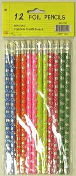 Ddi Foil Pencils - 12 pack - asst. designs(Case of 48)