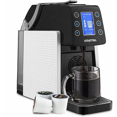 Gourmia® 1-Touch K-Cup Espresso/Coffee Capsule Machine with Milk Frother in White