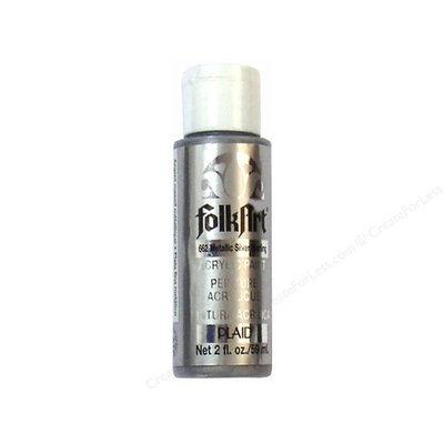 Plaid 132490 Folk Art Metallic Acrylic Paint 2 Ounces-Silver Sterling