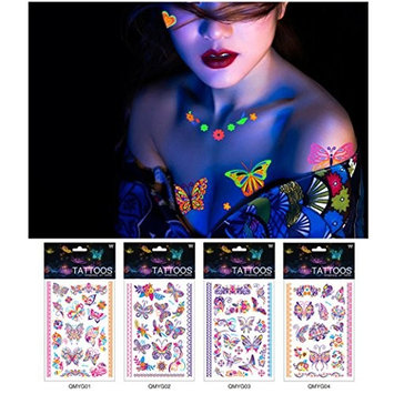 Auch Sexy Temporary Tattoos for Women, Waterproof Butterfly Tattoos, Fluorescent Tattoos Stickers for Night, Party - 1234