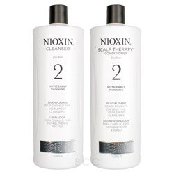 Nioxin System 2 Cleanser & Scalp Therapy Conditioner Duo Shampoo & Conditioner For Unisex 33.8 Oz