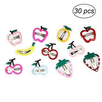 YeahiBaby 30Pcs Snap Hair Clips Metal Hair Clip Cartoon Fruit Barrettes for Baby Girls Toddlers Kids