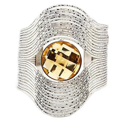 Personality stripes round gemstone opening bracelet