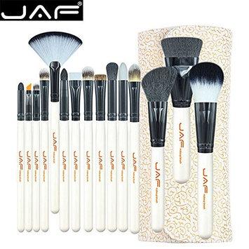15 Pcs Makeup Brush Set, Fenleo Professional Premium Synthetic Foundation Blending Blush Concealer Eye Face Liquid Powder Cream Cosmetics Brushes Kit Wood Handle White with A Cosmetic Bag