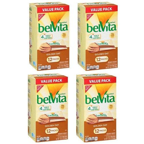 Belvita Breakfast Biscuits, Golden Oat, 1.76oz, 12 count (4 Box)
