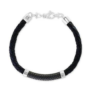 EFFY® Men's Leather Bracelet in Sterling Silver