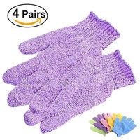 BESTOMZ 4 Pairs of Shower Exfoliating Bath Gloves Nylon Shower Gloves Body Scrub Exfoliator