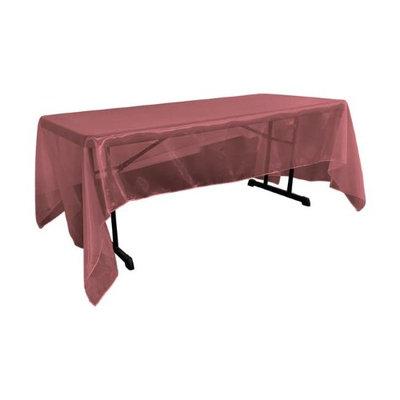 LA Linen TCOrgz60x144-BurgundyO17 Sheer Mirror Organza Square Tablecloth Burgundy - 60 x 144 in.