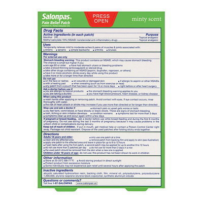 Salonpas Pain Relieving Patches, 5 Ct