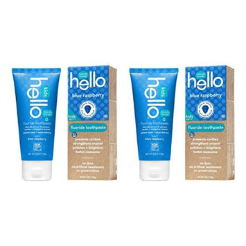 Hello Oral Care Kids Fluoride Toothpaste, Blue Raspberry, 4.2 Ounce - 2 Pack