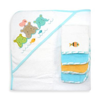 Just Born Just Bath Love to Bathe Knit 5-Piece Hooded Towel and Washcloth Set, Hippo