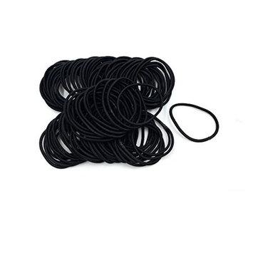 Hair Elastics Hair Ties Ponytail Holders No Metal 3mm (black 100 pcs)
