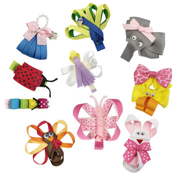 Wrapables® Baby Toddler Ribbon Sculpture Hair Clips (Set of 10)