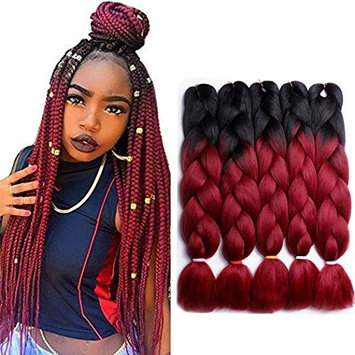 LAREALLEE Braid Ombre Braiding Hair X-pression Kanekalon Hair Ombre Twist Braiding Hair High Temperature Resistance Synthetic Hair Extensions 5Pcs/Lot 100g/Pc (24, Black/Wine Red)