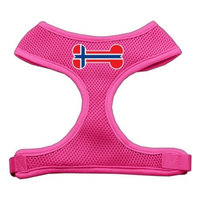 Mirage Pet Products Bone Flag Norway Screen Print Soft Mesh Dog Harnesses, Large, Pink