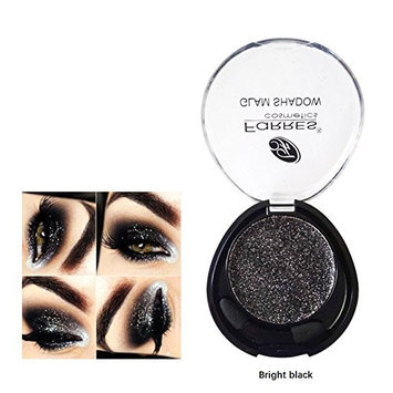 Auch Makeup Single Glitter Eyeshadow Powder Palette, 3 Metallic Colors Optional (Bright Black)