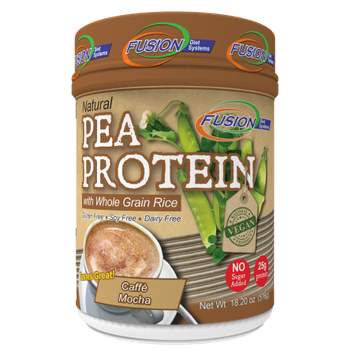 Fusion Diet Systems Natural Pea Protein with Whole Grain Rice Powder, Caffe Mocha, 18.2 Oz