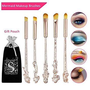 Mermaid Eyeshadow Makeup Brushes - XREXS 5 Pack Metal Magic Mermaid Eye Shadow Blending Brushes Sets, Cosmetic Makeup Tool Kit Beauty Tools with Gift Package (Rose G