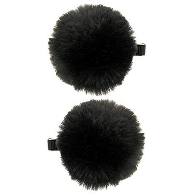 Capelli New York Ladies 2 Pack Pom Clips Black One Size