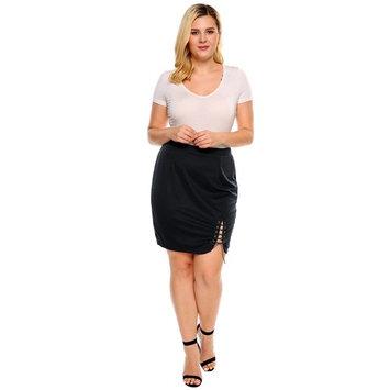 Women Solid Criss Cross Lace Up Stretch Split Skirt DEAML
