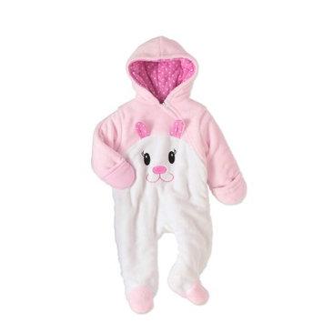 Quiltex Newborn Baby Girl Fleece Bunny Critter Snowsuit Pram