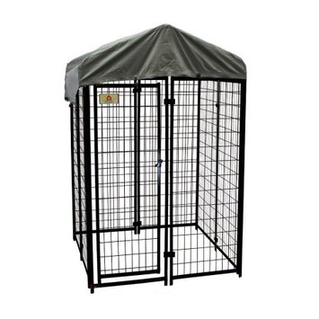 Robtec Carriers & Kennels 4 ft. x 4 ft. x 6 ft. Black Powder-Coated Chain Link Boxed Kennel Kit K644WWBL/C