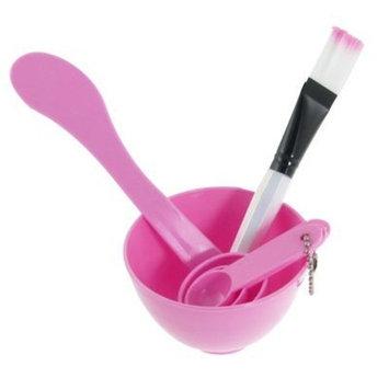 Facial Skin Care Mask Mixing Bowl Stick Brush Gauge Spoon Set Pink by