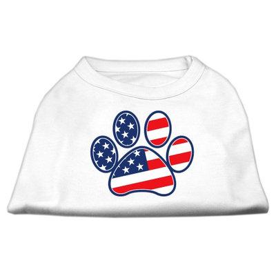 Mirage Pet Products 511701 LGWT Patriotic Paw Screen Print Shirts White L 14
