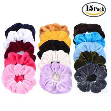 15 Pack Hair Scrunchies Whaline Bobbles Elastic Velvet Colorful Scrunchy Hair Bands Ties, 15 Colors