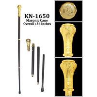 Classy Freemason Walking Stick Cane With Engraved Masonic Symbols On Handle