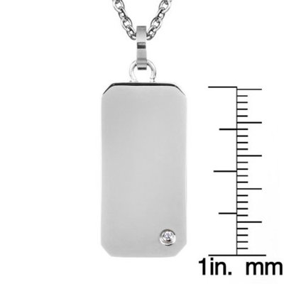 Cubic Zirconia Best Friend Engravable Mini Stainless Steel Dog Tag Pendant