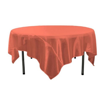 LA Linen TCOrgz90X90-Red098 Sheer Mirror Organza Square Tablecloth Red - 90 x 90 in.