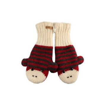 Youth/Adult Red/Charcoal Cute Stripe Sock Monkey Mittens by Knitwits - A2329RC, One Size