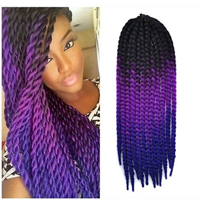 24 inch Crochet Braid Hair Extensions, Havana Mambo Twist 12 Strands/ Pack, 120g, Black to Purple to Blue