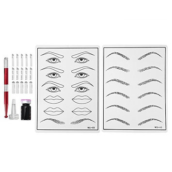 Eyebrow Tattoo Practice Kit, 3D Professional Rotary Eyebrow Eyeliner Lip Tattoo Machine Permanent Makeup Set
