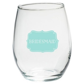 4ct Kate Aspen Bridesmaids Something Blue 15 Oz. Stemless Wine Glass