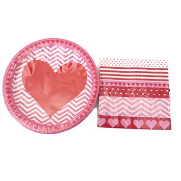 Valentines Hearts and Stripes Paper Plates and 2 Ply Napkins Serves 18