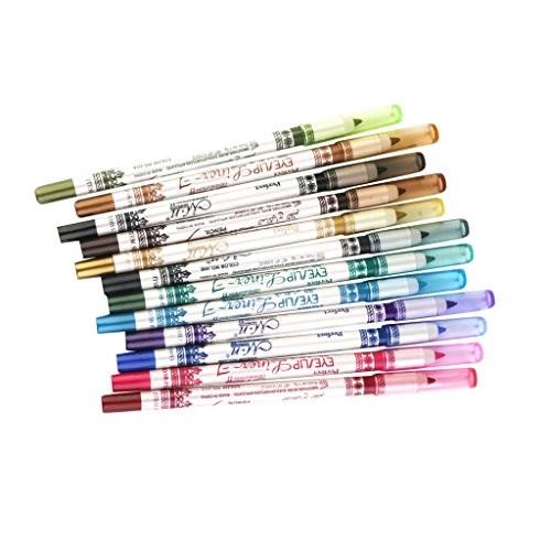 MonkeyJack 12 Colors Waterproof Eye Liner Eyeliner Pencil Eye Cosmetic Makeup Set (12 Pcs)