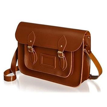 ANU® London Satchel Genuine Leather Traditional British Satchel Messenger Bag - Handmade in London, England