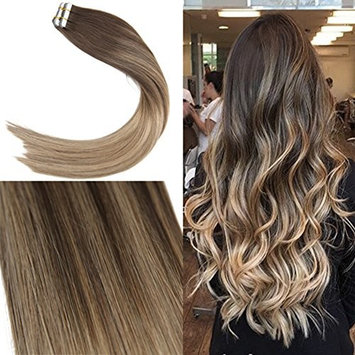 Youngsee 16inch Balayage Remy Tape in Hair Extensions Dark Brown Ombre Golden Brown Highlight with Blonde Glue in Extensions Human Hair 20pcs 50g []
