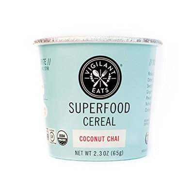 Vigilant Eats Superfood Cereal, Pack of 6, Organic, Gluten Free, Vegan, Non GMO, Kosher, 2.3 oz Travel Cup (Coconut Chai)