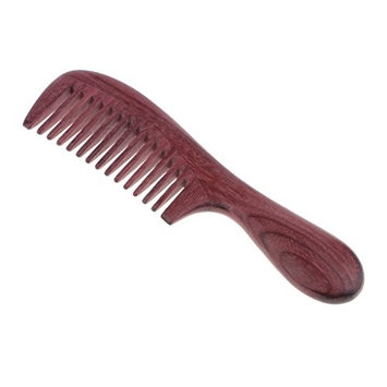 Homyl Purpleheart Wood Hair Comb with Handle No Static Detangling Hair Massage Brush Natural Aroma Handmade Wooden Wide Teeth 7.3''