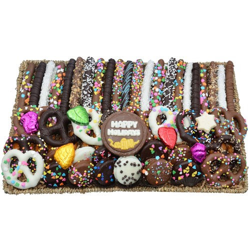 Deluxe Hand-Dipped Chocolate Pretzels & Oreos   Holiday Gift Basket For Foodies