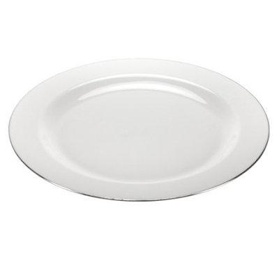 Lillian Dinnerware, Magnificense Plastic Plate, Pearl - Silver Edge, 10.25', 10 Ct