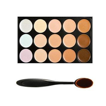 Boolavard TM 15 Shades Colour Concealer Makeup Palette Kit Make Up Set with Cosmetics Oval Make up Brush