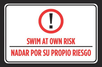 Icandy Combat Swim At Own Risk Nadar Por Su Propio Riesgo Spanish Print Red Black White Swimming Pool Rules Outdoor Poster Sign Larg