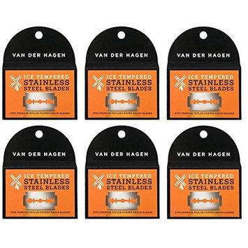 Van Der Hagen Stainless Steel Double Edge Razor Blades 5 Blades (Pack of 6) + FREE LA Cross 71817 Tweezer