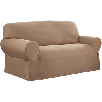 Mainstays Stretch Pixel 1 Piece Loveseat Furniture Cover Slipcover, Sand